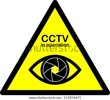 CCTV warning sign. Eye with shutter. Vector Illustration - stock vector