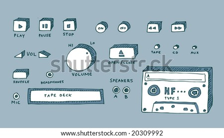 CD and tape deck, hand-drawn.