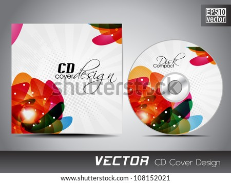 CD cover design template with text space. EPS 10. - stock vector