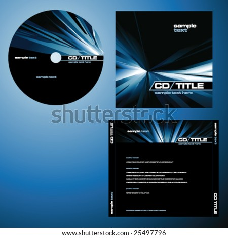 CD cover design with copy space, vector. Blue color. - stock vector