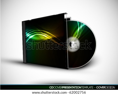 CD Cover Design with 3D Presentation Template | Everything is Organized in Layers Named Accordingly | To Change the Cover Design use the Cd and Cover Design Layers - stock vector