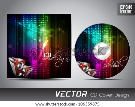 CD cover design with musical background and speakers. EPS 10.
