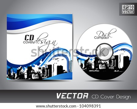 CD cover presentation design template, copy space and wave effect with urban city silhouette, editable EPS10 vector illustration. - stock vector