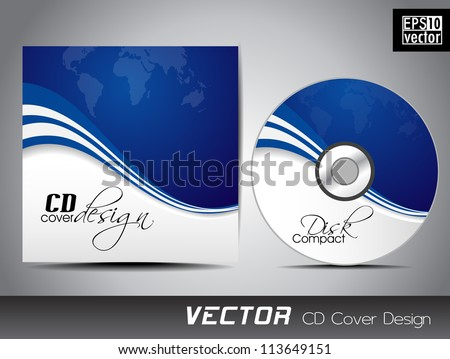 CD cover presentation design template with copy space and wave effect, editable EPS10 vector illustration.
