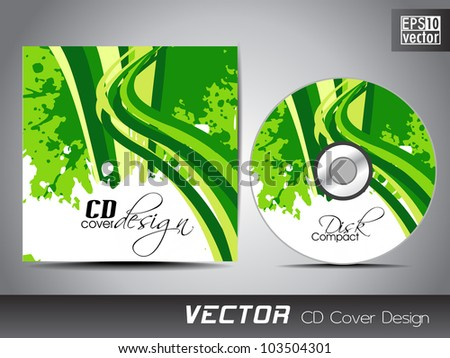 CD cover presentation design template with copy space and wave effect in green and yellow color on Eco concept, editable EPS10. Vector illustration. - stock vector