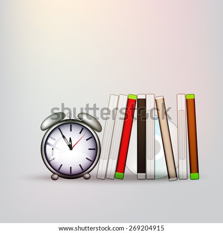 cd covers with old alarm clock - stock vector