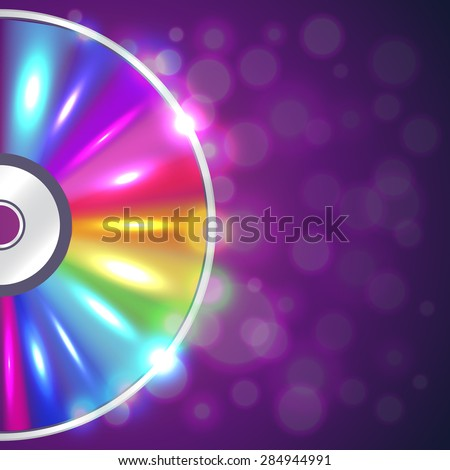 Cd-drive on musical background shiny vector illustration - stock vector
