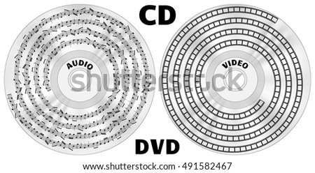 CD Or DVD Disks With Displayed Audio Files As Notes Track And Video