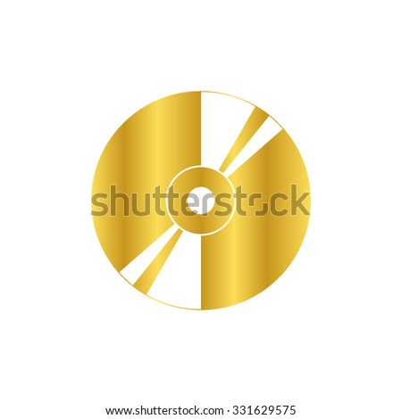 CD or DVD - gold vector icon - stock vector