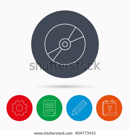 CD or DVD icon. Multimedia sign. Calendar, cogwheel, document file and pencil icons. - stock vector