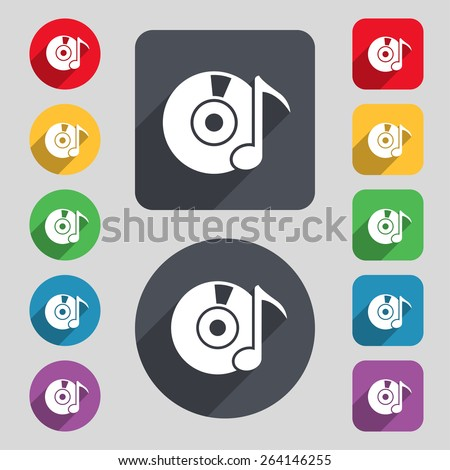 CD or DVD icon sign. A set of 12 colored buttons and a long shadow. Flat design. Vector - stock vector