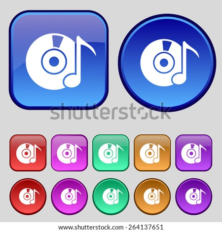 CD or DVD icon sign. A set of twelve vintage buttons for your design. Vector illustration - stock vector