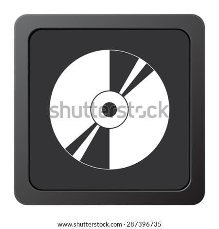 CD or DVD - vector icon on a grey button - stock vector