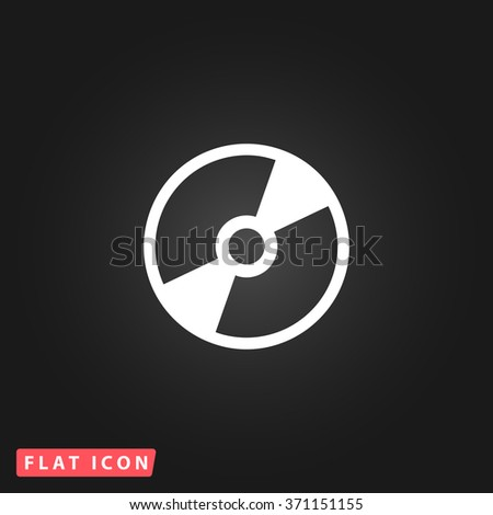 CD or DVD. White flat simple vector icon on black background.