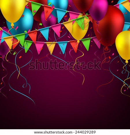 Celebrate background. Party flags with confetti. Realistic balloons. Vector illustration.  - stock vector