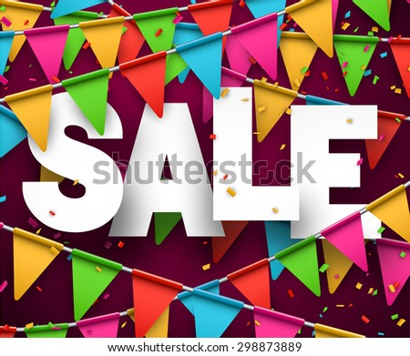 Celebrate banner. Party flags with confetti. Vector illustration.  - stock vector