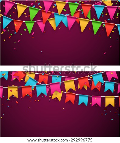 Celebrate banners. Party flags with confetti. Vector illustration.  - stock vector