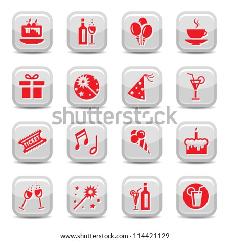 Celebrate Icon Set for web and mobile. All elements are grouped. - stock vector