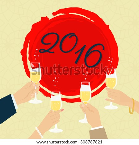Celebrating new year poster with group of people toasting with champagne - stock vector