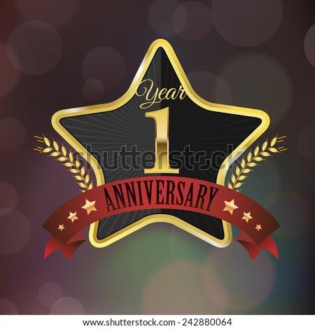 Celebrating 1 Year Anniversary Golden Star Stock Vector 242880064