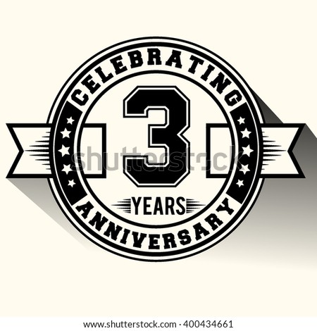 Celebrating 3 years anniversary logo, Celebrating 3rd anniversary sign, retro design.