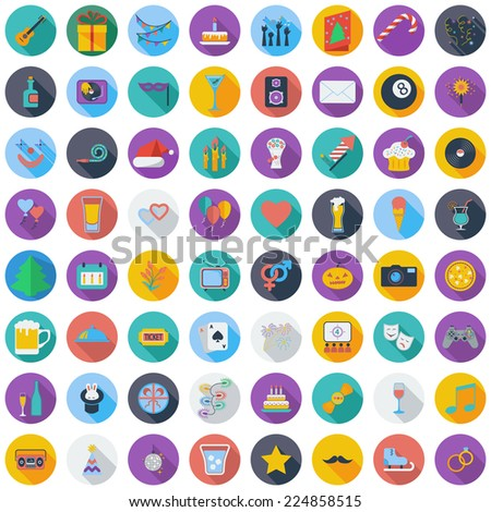 Celebration and Party color flat icons set with long shadow. Vector illustration. - stock vector
