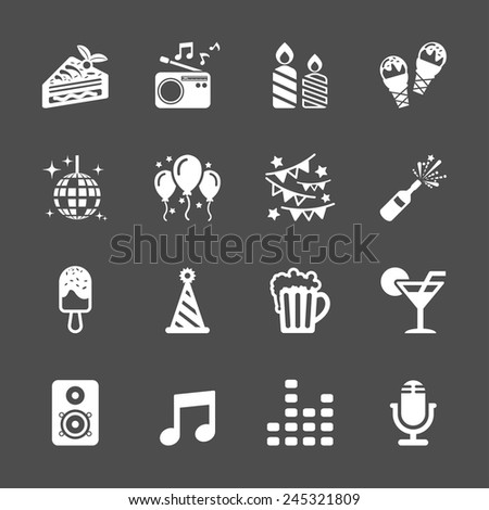 celebration and party icon set, vector eps10. - stock vector