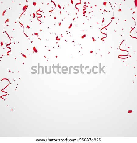 Celebration background template with confetti and red ribbons. Vector illustration