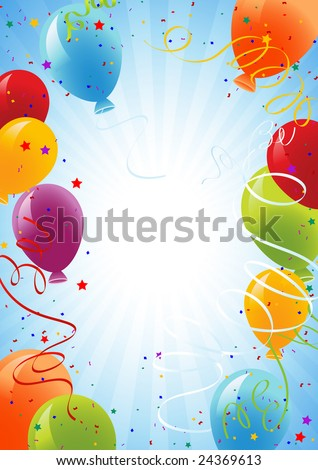 Celebration background with balloons, vector illustration, EPS file included - stock vector