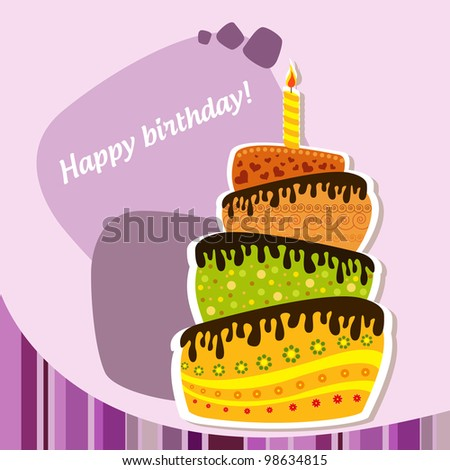 Celebration background with birthday cake - stock vector