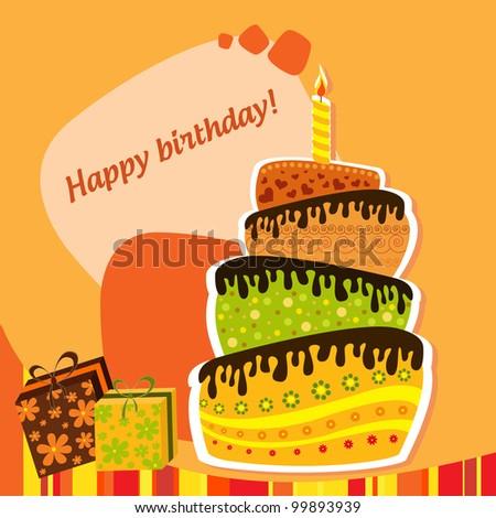 Celebration background with birthday cake 2 - stock vector