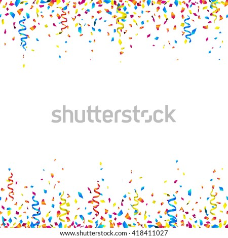 Celebration Background Colorful Confetti Party Ribbons Stock Vector ...