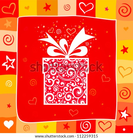 Celebration background with gift box and place for your text. Vector illustration - stock vector