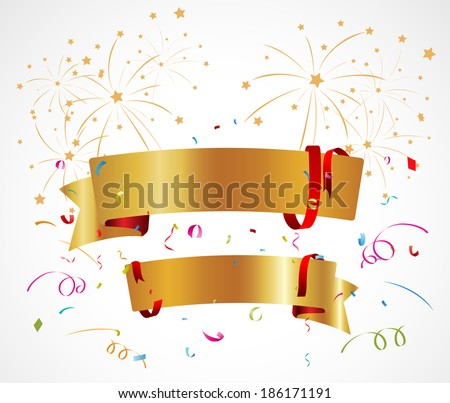 Celebration background with ribbon and confetti - stock vector