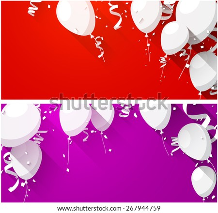 Celebration backgrounds with flat balloons and confetti. Vector illustration.  - stock vector