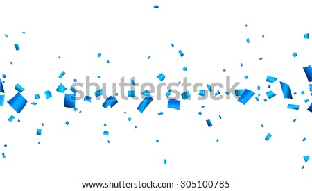 Celebration banner with blue confetti. Vector background. - stock vector