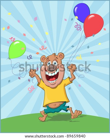Celebration Bear - stock vector
