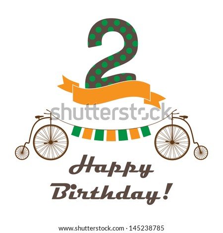 Celebration card for 2st birthday in retro desing - stock vector