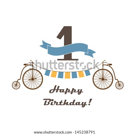 Celebration card for 1st birthday in retro desing - stock vector