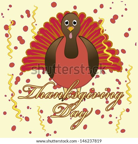 celebration card thanksgiving day with ornaments and text on light yellow background.
