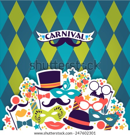 Celebration festive background with carnival icons and objects. Vector Illustration - stock vector