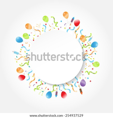 Celebration festive circle frame, background with confetti, hanging pennants and balloon text can be add, vector illustration - stock vector