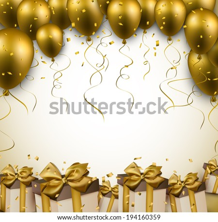 Celebration golden background with balloons and confetti. Vector illustration.  - stock vector