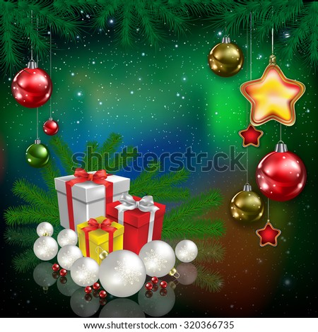 Celebration green greeting with snowflakes and Christmas gifts - stock vector