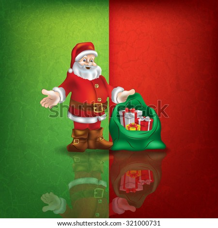 celebration greeting with Santa Claus on green red vector background - stock vector