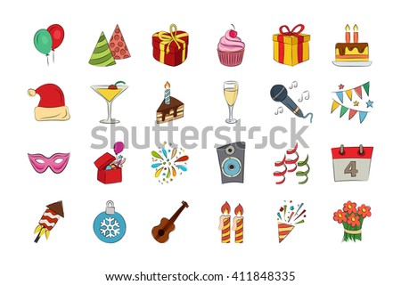 Celebration Hand Drawn Colored Vector Icons 1
