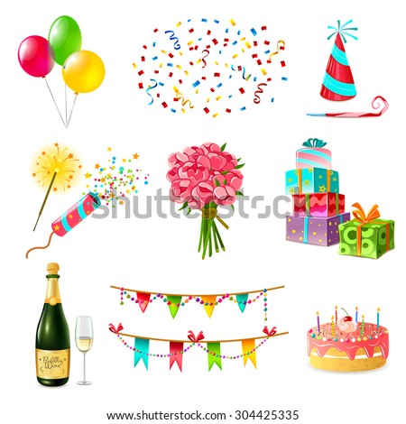 Celebration icons set with cake balloons champagne bouquet confetti and present boxes firecrackers garland whistle party hat isolated vector illustration - stock vector