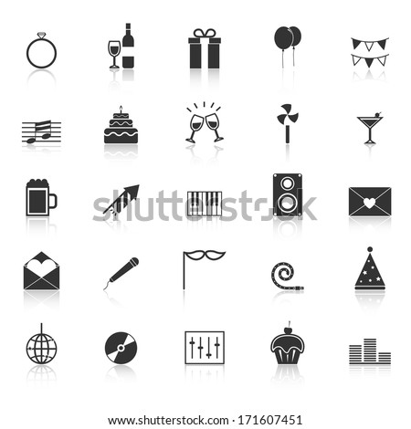 Celebration icons with reflect on white background, stock vector - stock vector