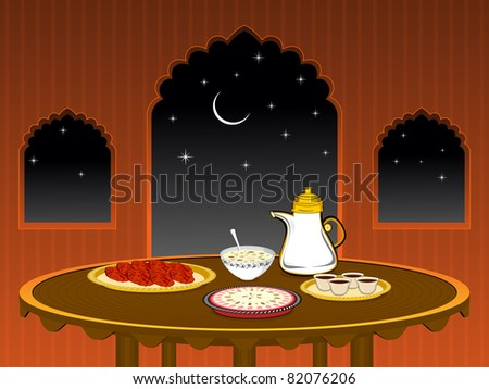 celebration night background with food - stock vector