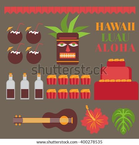 Celebration on hawaii island, Luau party elements.   Exotic vacation, summer weekend, hawaiian flowers, tiki mask, ukulele guitar, sweet and coconut drink isolated - stock vector